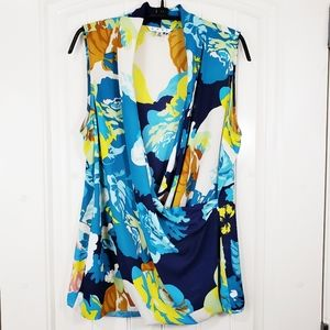 CAbi Spring Blossom Faux Wrap Sleeveless Top